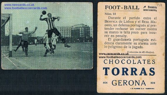 1922 Real Madrid v Benfica trade card by Choc Torras